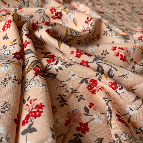 BLUSH FLORAL VISCOSE LAWN FABRIC