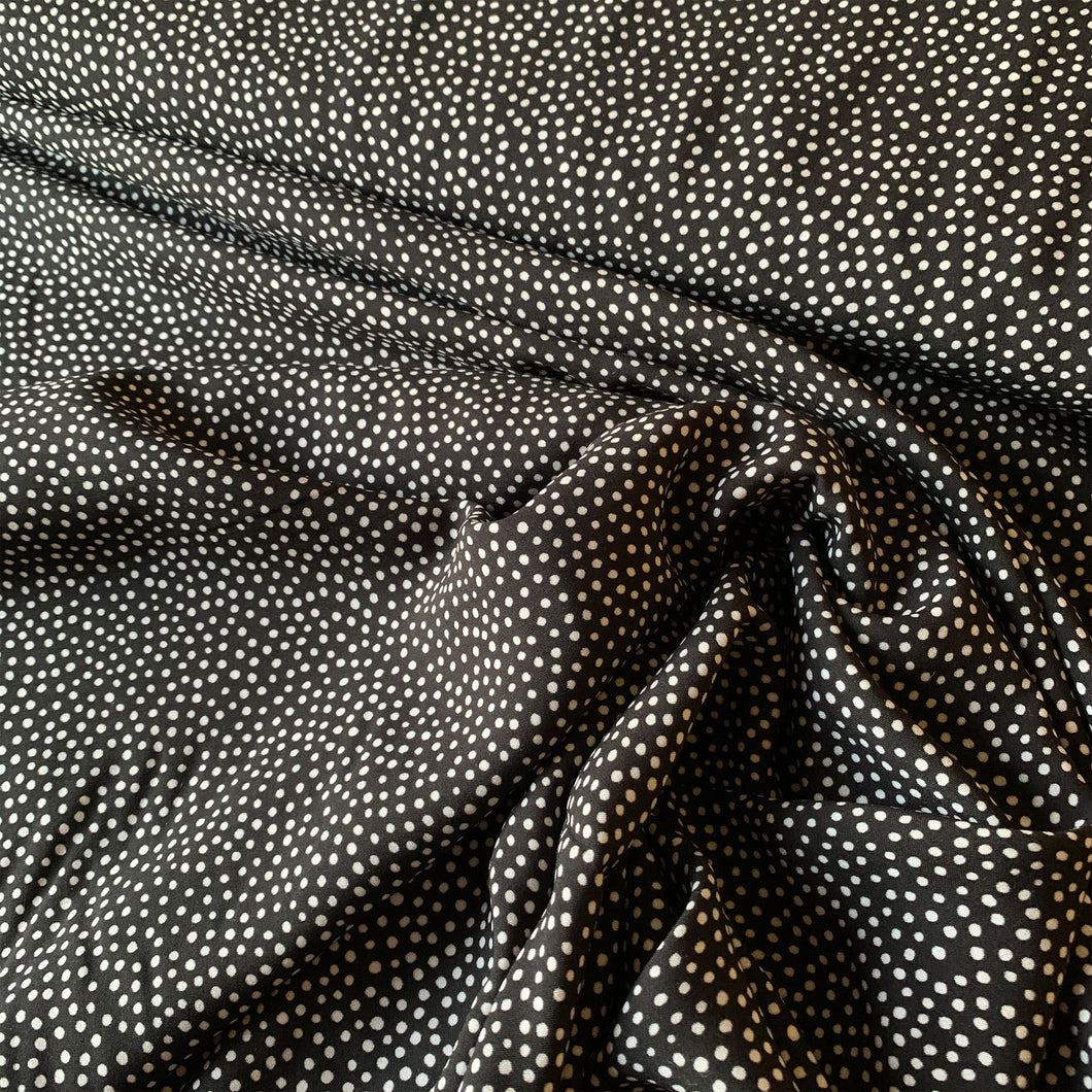 DOTTY ABOUT DOTS BLACK VISCOSE CHALLIS LAWN LADY MCELROY FABRIC