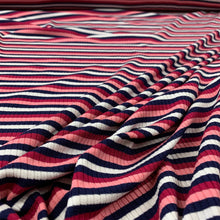Load image into Gallery viewer, STRIPED RIB KNIT VISCOSE FABRIC IN PINK
