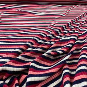 STRIPED RIB KNIT VISCOSE FABRIC IN PINK