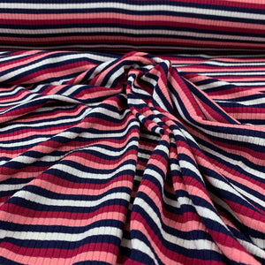 STRIPED RIB KNIT VISCOSE IN PINK