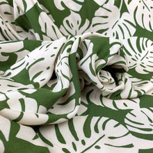 Load image into Gallery viewer, TROPICAL LEAVES ON OLIVE GREEN VISCOSE CHALLIS FABRIC