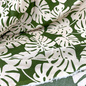 TROPICAL LEAVES ON OLIVE GREEN
