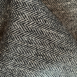 BLACK/ GREY HERRINGBONE WOOL