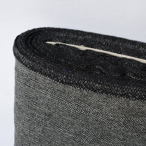 BLACK GREY HERRINGBONE WOOL