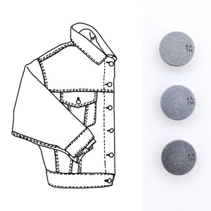 KYLIE AND THE MACHINE DENIM JACKET BUTTONS KIT- PEWTER