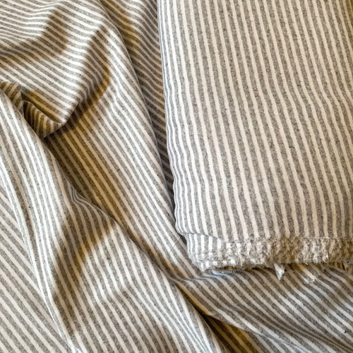 LIGHT GREY MELANGE STRIPE COTTON JERSEY FABRIC