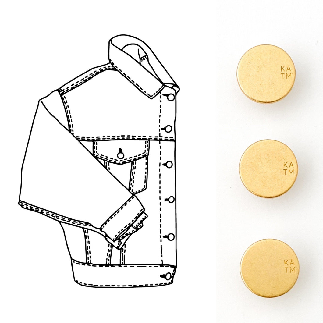 KYLIE AND THE MACHINE GOLD DENIM JACKET BUTTON KIT