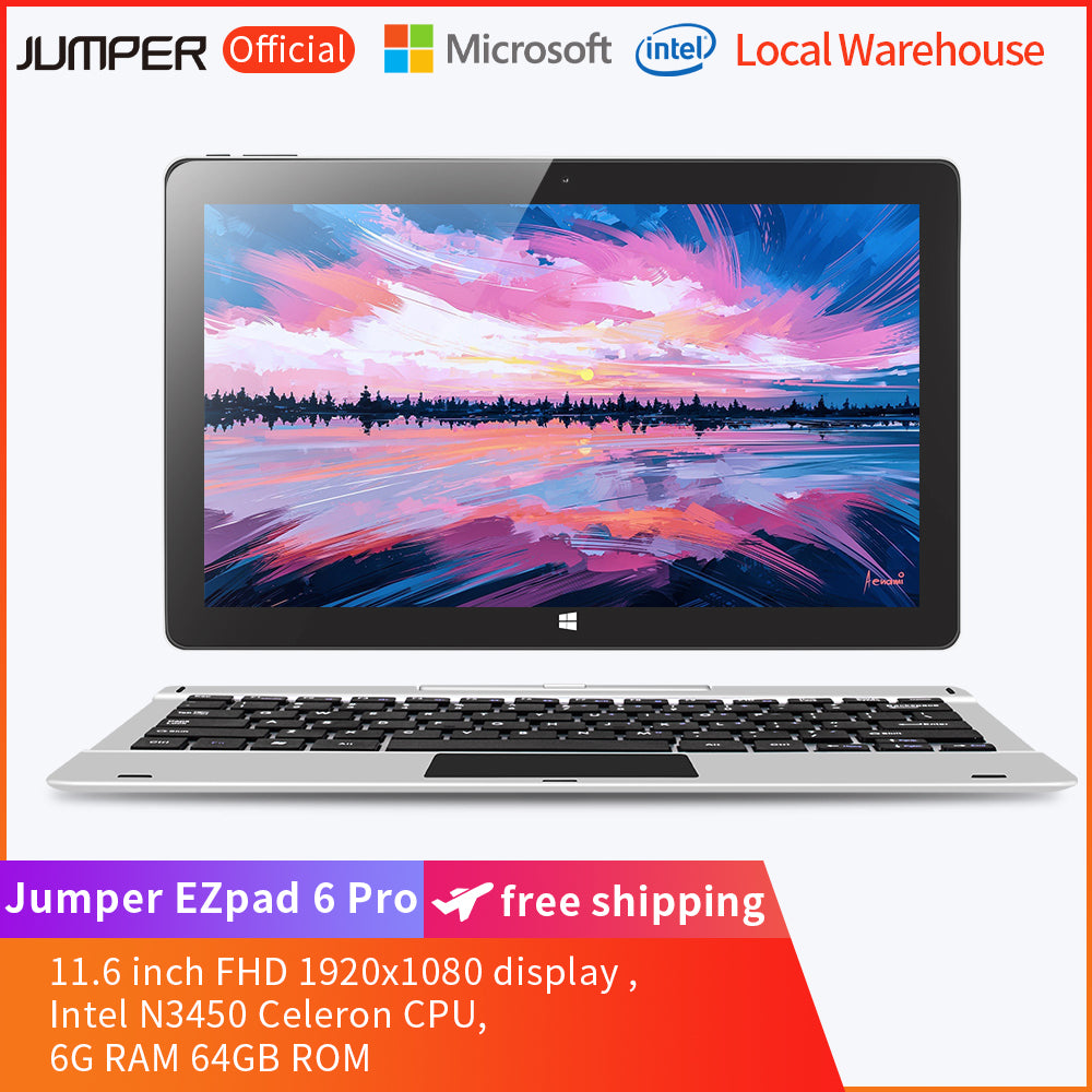 Jumper EZpad 6 Pro 2 in 1 11.6 inch Tablet PC with  Keyboard- Silver