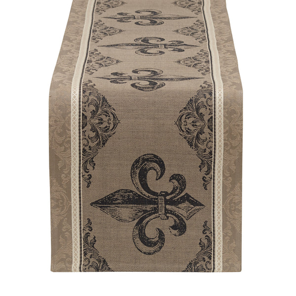Wholesale   Fleur De Lis Stripe Jacquard Table Runner   DII Design Imports    1