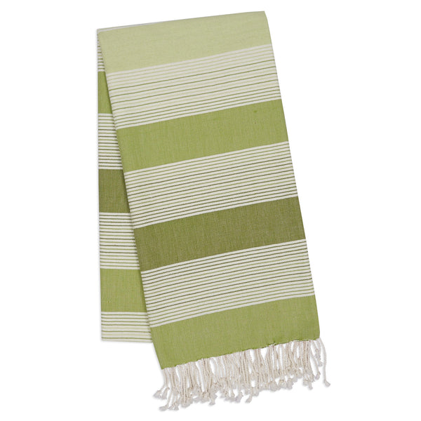 Green Stripe Fouta Towel/Throw - DII Design Imports