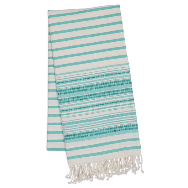 Wholesale - Aqua Mint Stripe Fouta Towel/Throw - DII Design Imports - 1