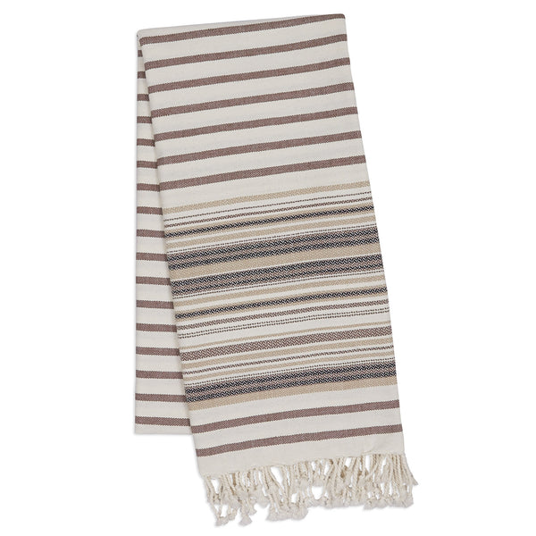 Wholesale - French Taupe Stripe Fouta Towel/Throw - DII Design Imports - 1