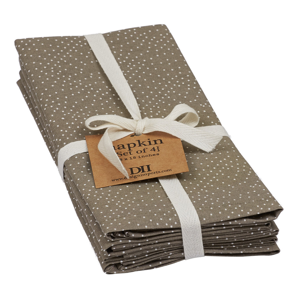 Wholesale Natural Dot Printed Napkin - Set of 4 - DII Design Imports