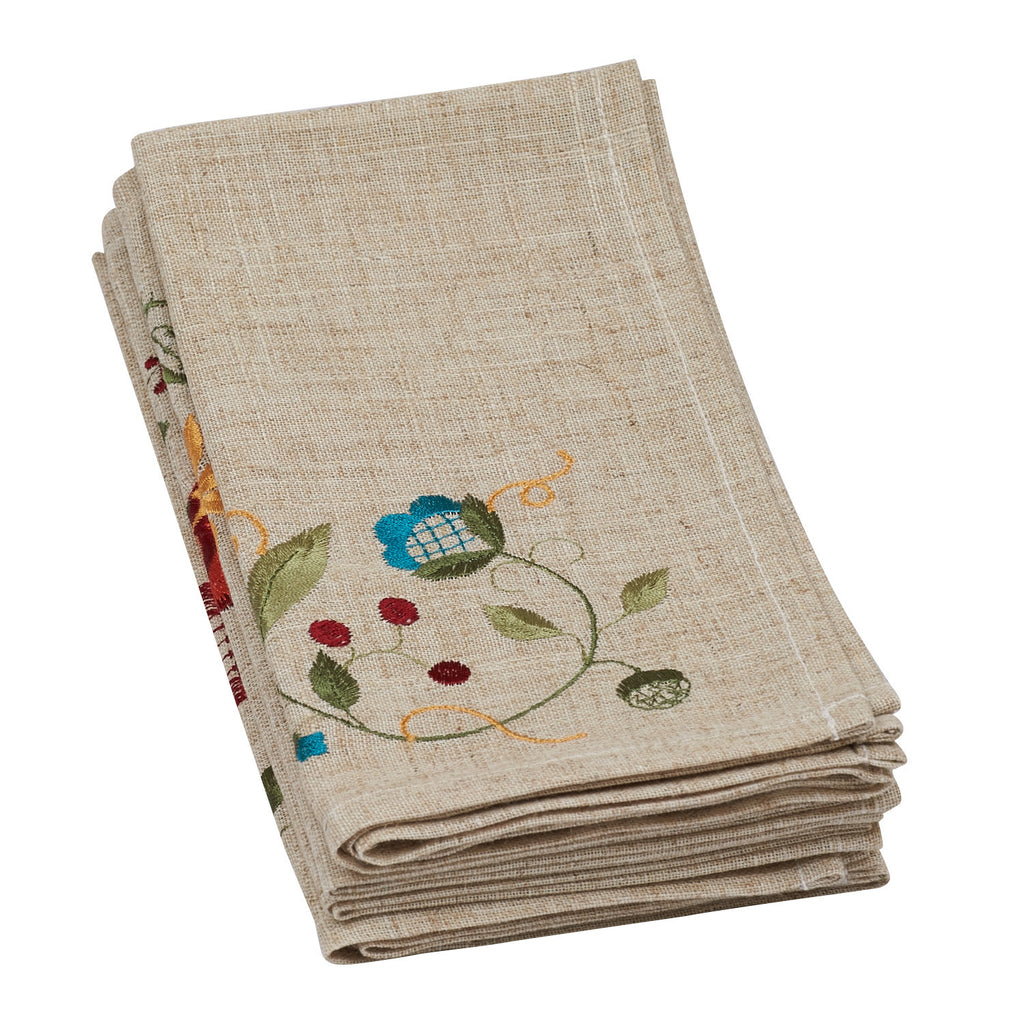 Wholesale - Flower Embroidered Napkin - Set of 4 - DII Design Imports - 1