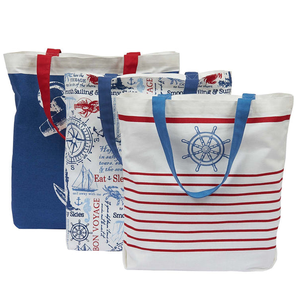 Wholesale - Maritime Printed Totes - DII Design Imports - 4