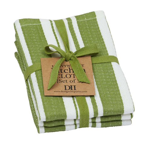 Wholesale - Parsley Gourmet Stripe Herringbone Heavyweight Dishcloth Set of 3 - DII Design Imports - 1