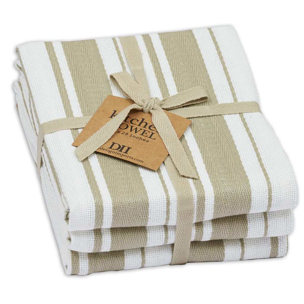 Wholesale - Mushroom Gourmet Stripe Dishtowel Set of 3 - DII Design Imports - 1