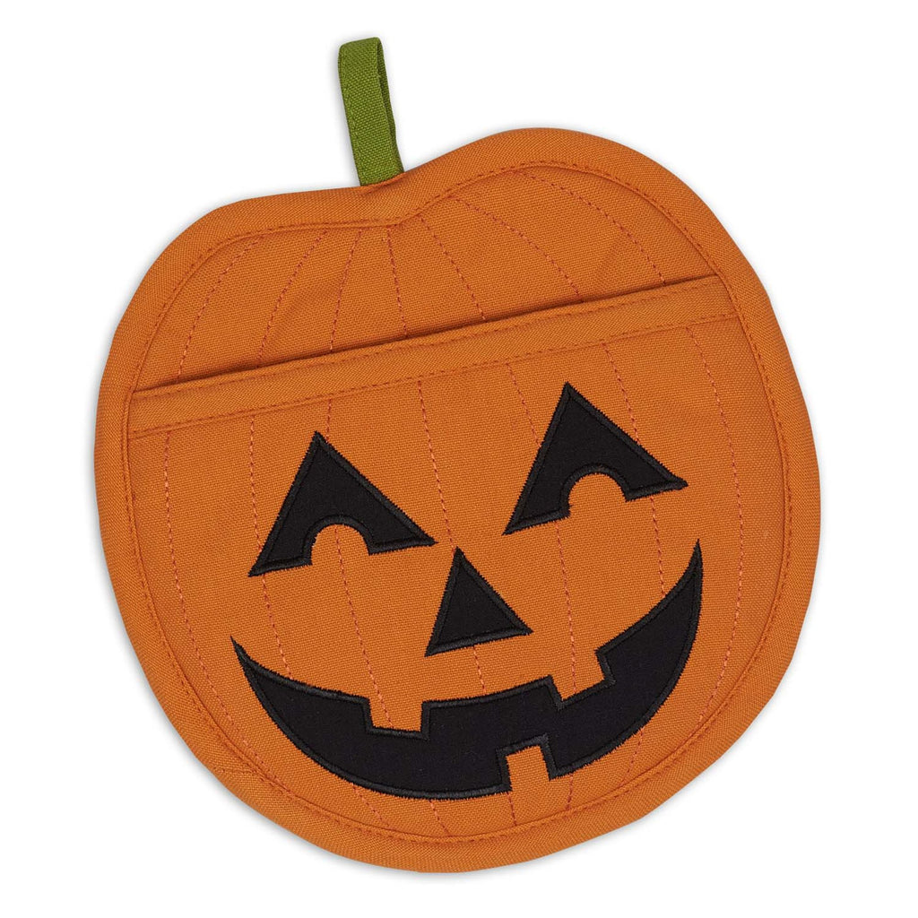 Jack O' Lantern Shaped Embellished Pocket Potholder