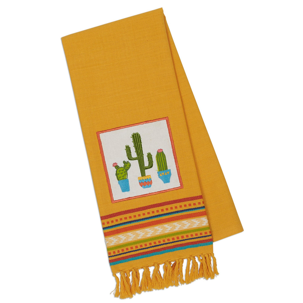 Flowering Cactus Embellished Dishtowel