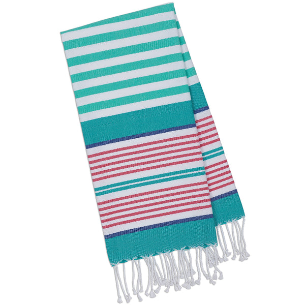 Wholesale - Beachy Aqua Stripes Fouta Towel - Small - DII Design Imports - 1