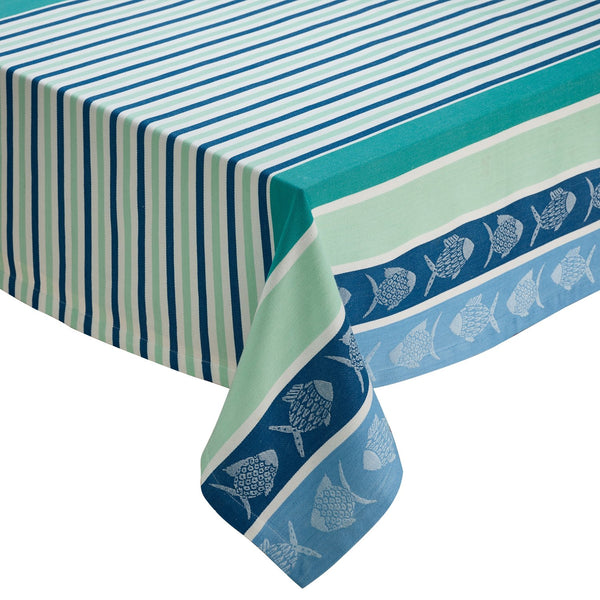 Deep Sea Stripe Jacquard Tablecloth - DII Design Imports