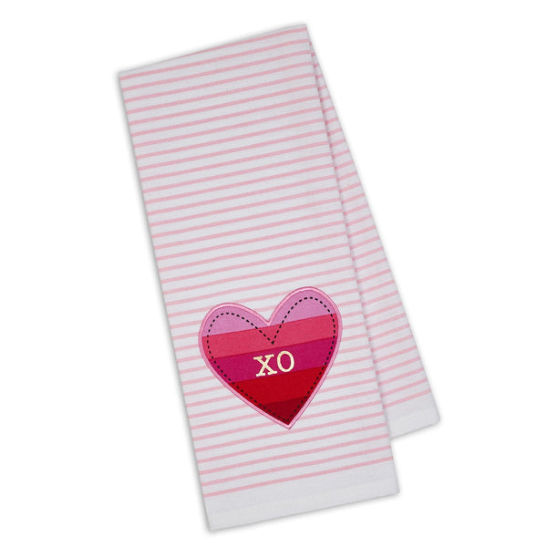 XO Heart Embellished Dishtowel - DII Design Imports