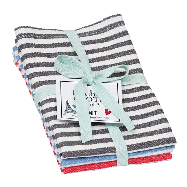 Wholesale Paris Petite Stripe Dishcloth Set of 3 - DII Design Imports