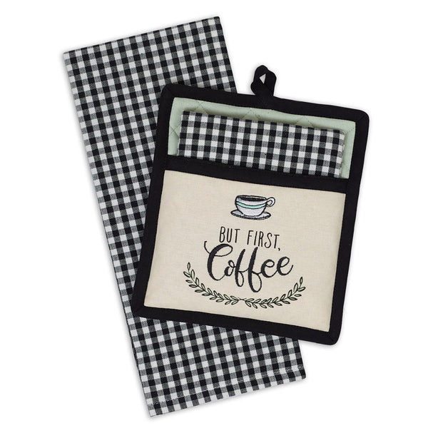 Coffee Time Embroidered Potholder Gift Set - DII Design Imports