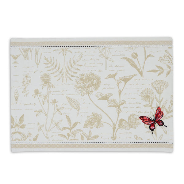 Botanical Butterfly Embroidered Placemat - DII Design Imports
