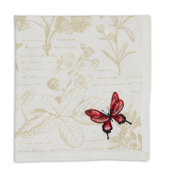 Botanical Butterfly Embroidered Napkin - DII Design Imports