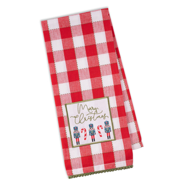 Merry Nutcrackers Embellished Dishtowel