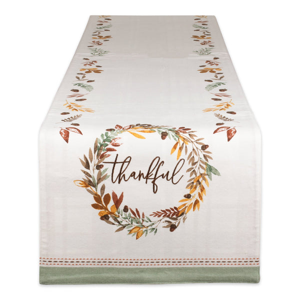 Thankful Autumn Wreath Embellished Table Runner