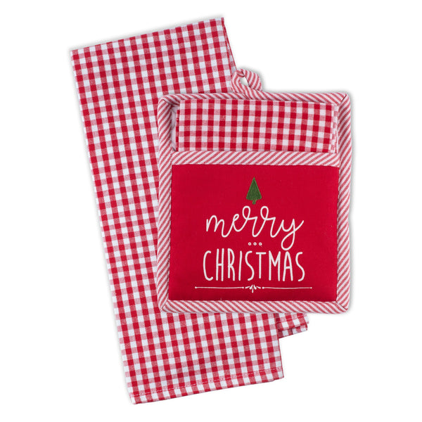 Merry Christmas Tree Potholder Gift Set