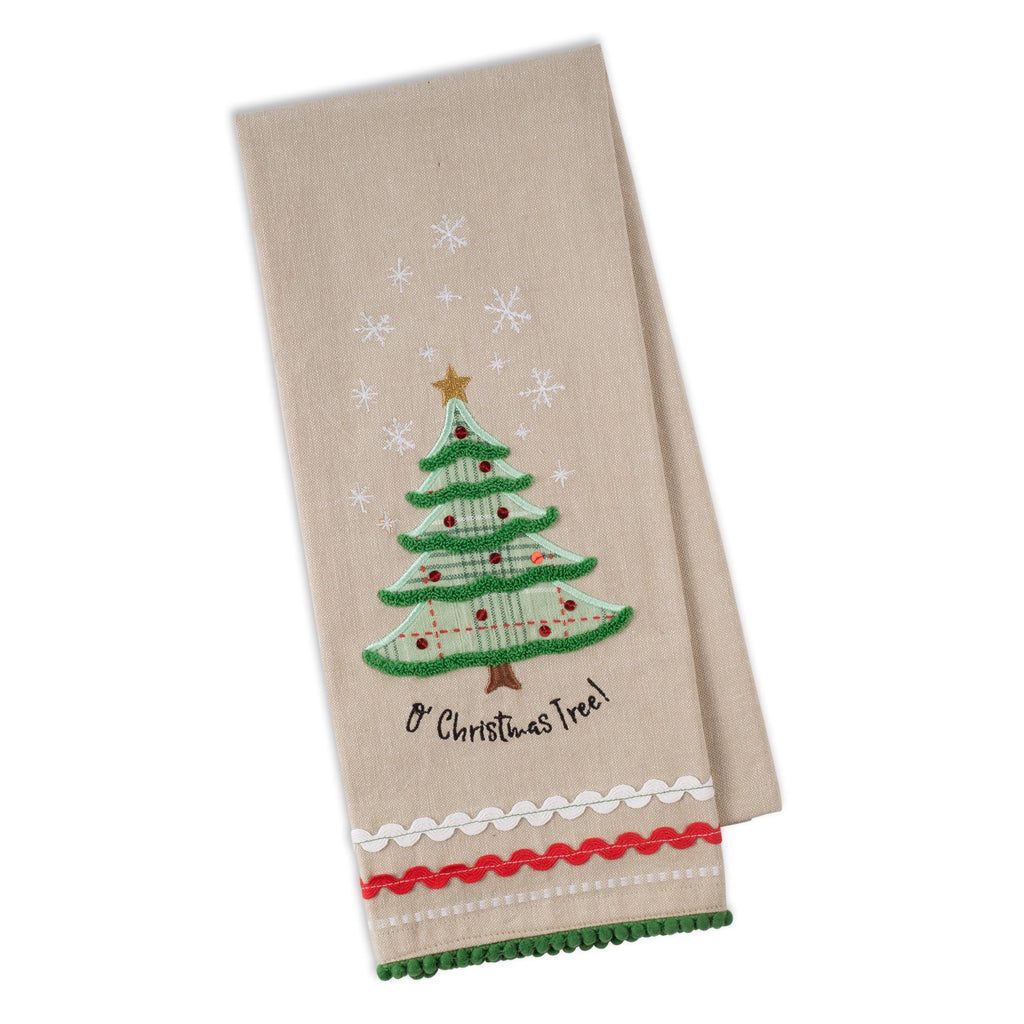 Christmas Tree Embellished Dishtowel