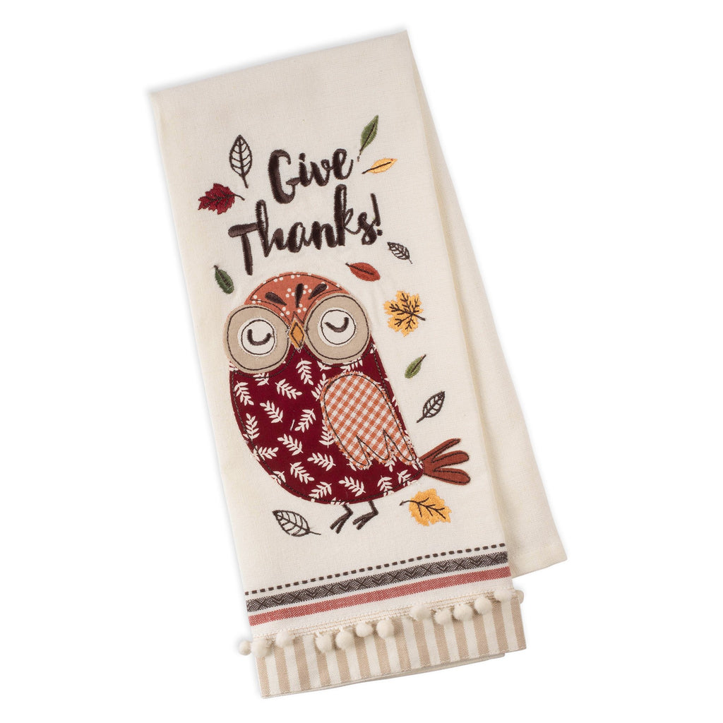 Give Thanks Owl Embellished Dishtowel