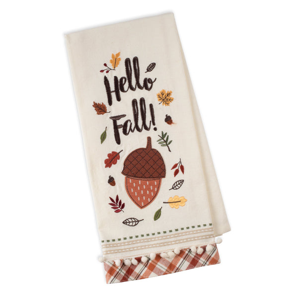 Hello Fall Acorn Embellished Dishtowel