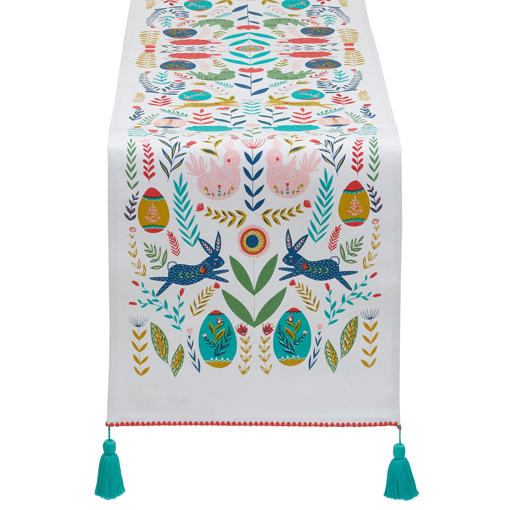 Easter Folk Garden Embellished Table Runner - DII Design Imports