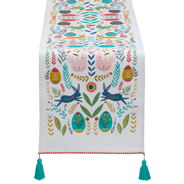 Easter Folk Garden Embellished Table Runner