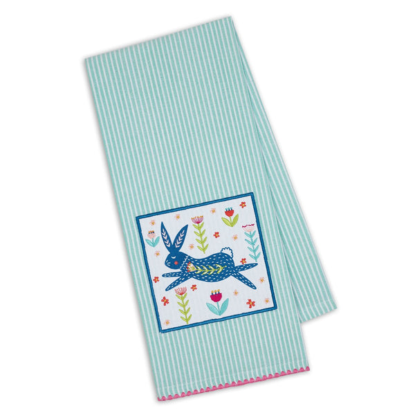 Wholesale Folk Bunny Embellished Dishtowel - DII Design Imports