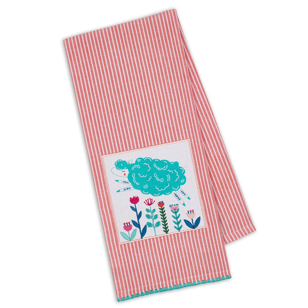 Folk Lamb Embellished Dishtowel - DII Design Imports
