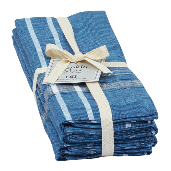 Wholesale - French Blue Chambray Napkin Set of 4 - DII Design Imports - 1
