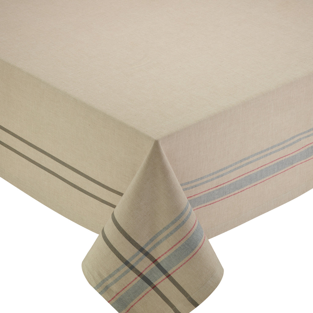 Natural French Stripe Tablecloth - DII Design Imports
