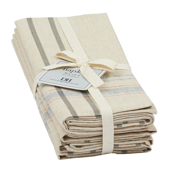 Wholesale - Natural French Stripe Napkin Set of 4 - DII Design Imports - 1