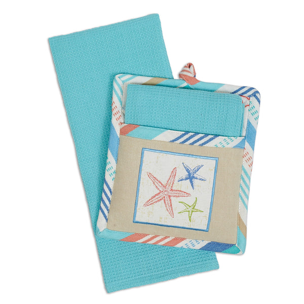 Wholesale Seashore Embellished Potholder Gift Set - DII Design Imports
