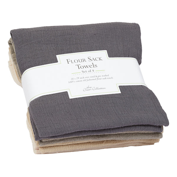 Neutral Flour Sack Towels Set of 4 - DII Design Imports