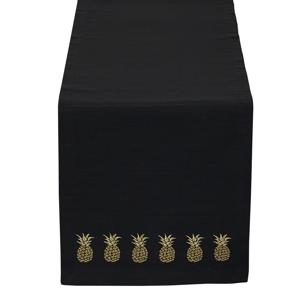 Wholesale Black & Gold Pineapple Embroidered Table Runner - DII Design Imports