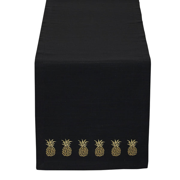 Black & Gold Pineapple Embroidered Table Runner - DII Design Imports