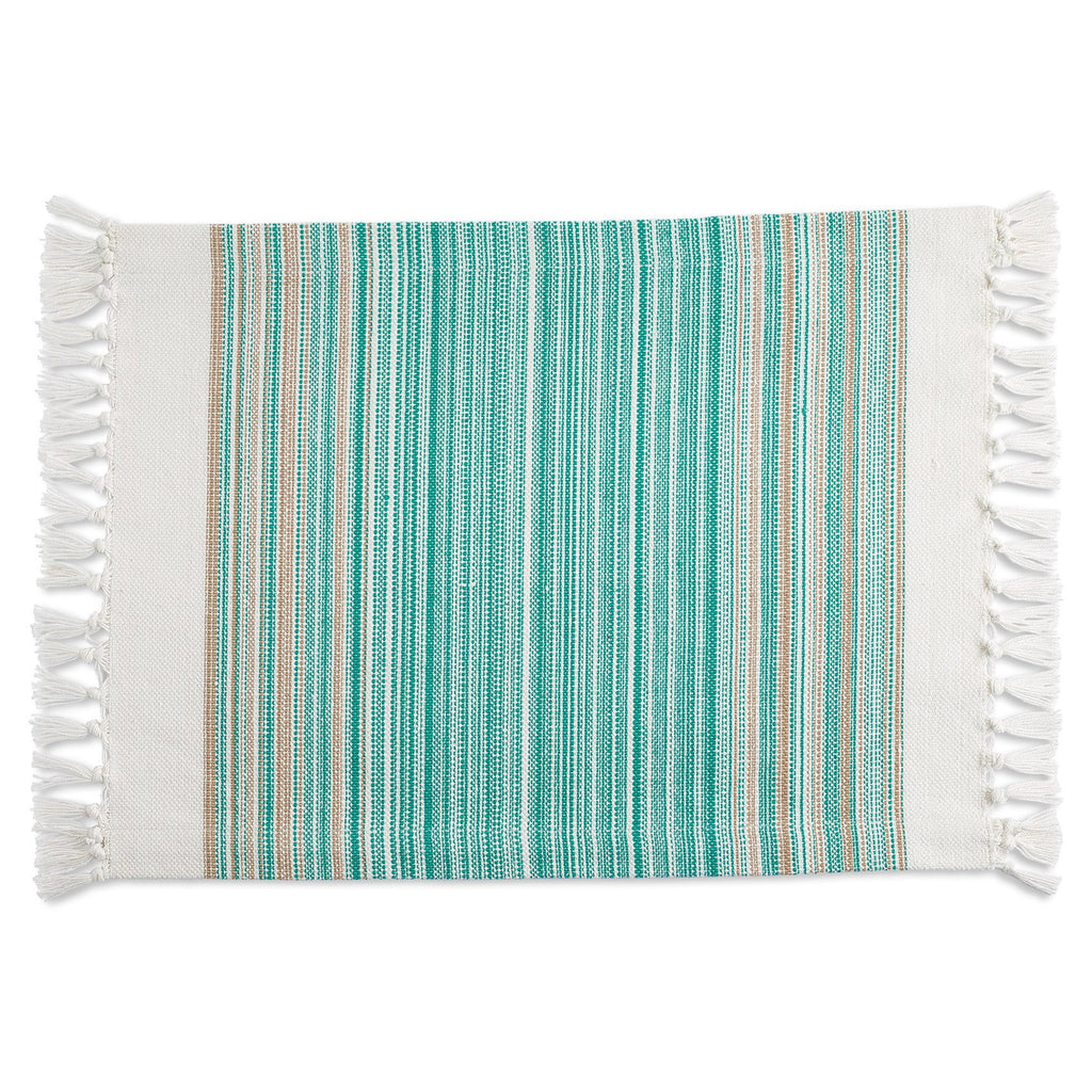 Wholesale Teal Blue Striped Fringe Placemat - DII Design Imports