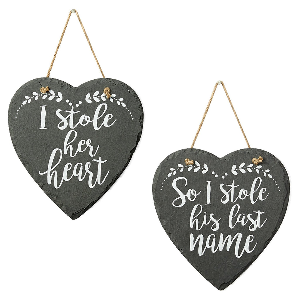 Wholesale I Stole Her/ His Last Name Slate Signs - DII Design Imports